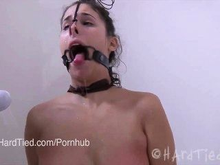 Brunette Amateur In Latex Bound In Rope Tortured Erotically In Water