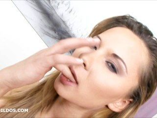 Horny Blonde Sucking And Inserting A Big Brutal Dildo In Her Pussy In Hd