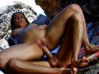 Brunette Spanish Slut Fucked Outside Cave
