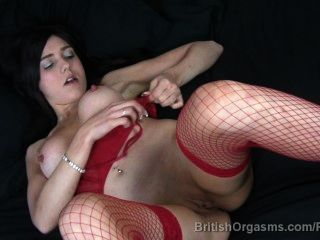 Big Nipples And Big Lips In Fishnets Finger Fucking Herself To Orgasm