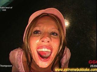 Gorgeous Brunettes And Blonde Receive Multiple Facial Cumshots