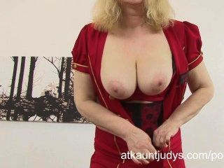 Curvy Mature Blonde Amanda Frolics In Her Lingerie And Masturbates