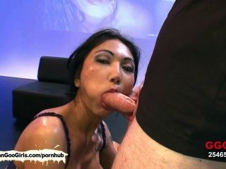 Sexy Asian Nympho Sucks And Rides Dicks At The Same Time