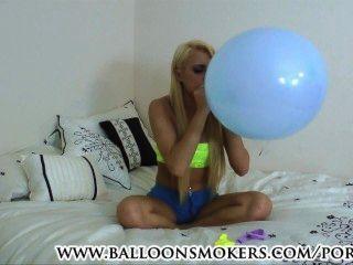 Teen Blows To Pop Balloons In Bedroom