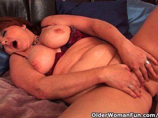 Full Figured Granny With Big Tits Fucks A Dildo
