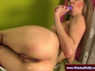 Puffy Peach Babe With A Dildo In Her Ass