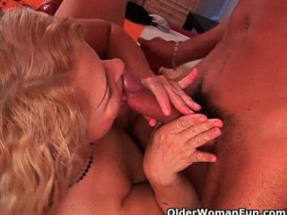 Grandma In Lust Gets Fucked By Sons Friend