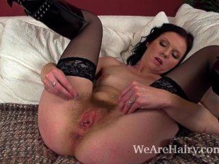 Hairy Girl Josselyn Masturbating With Sleek Dildo