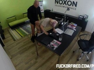 Slutty Blonde Fucking To Keep Her Job