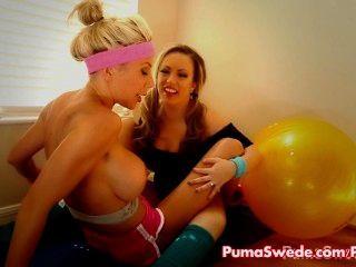 Puma & Carmen Lesbian Pornstar Work Out