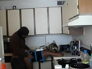 Hot Black Girl Fucked In Kitchen