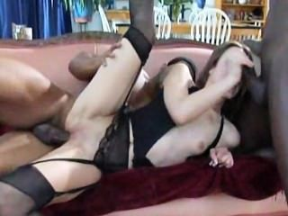 Amber Rayne Gets Dp By 3 Big Black Cocks