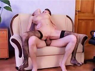 Russian Girl Fucked In Black Stockings