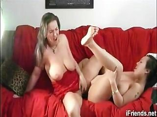 2 Lesbians Ride A Double Headed Dildo To Orgasm