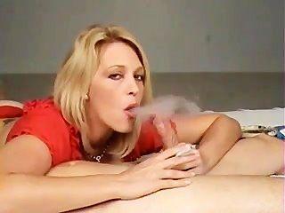 Hot Blonde Cougar In Heels Smoking Bj