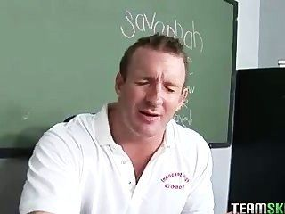 Big Titty Brunette Schoolgirl Gets Her Ass Spanked By Her Prof