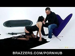 Big-tit Brunette Milf Slut In Lingerie Strips And Fucks Hard-dick