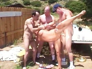 Fun Ourdoor Gangbang With Hot Blond