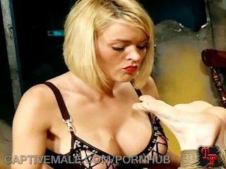 Dominatrix Pegs Her Gimp Slave