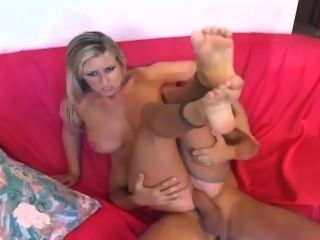 Blonde With Big Tits Fucking And Giving A Footjob In Nude Crotchless Nylons