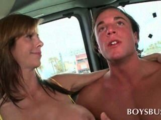 Busty Babe Making This Guy Really Horny In The Boys Bus