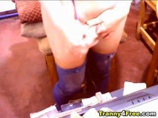 Huge Juggs Tranny Plays Her Cock