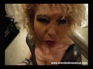 Retro Curly Blonde Smokes And Sucks, Strangely Sexy!
