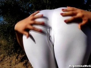 Amazing Body Teen! In Ultra Tight White Spandex Perfect Ass!