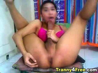Tranny Self Sucks Her Huge Dick