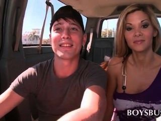 Handsome Teen Guy Seduced By A Hot Blonde In The Bus