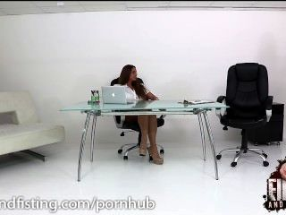 Cathy Heaven Takes On 2 Cocks In The Office