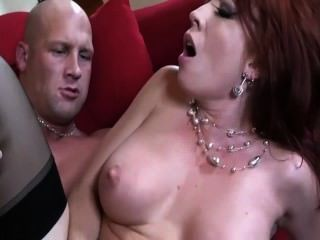 Redhead With Big Tits Getting Fucked In Thigh High Stockings And A Garter