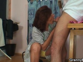 Sewing Oldie Pleases His Horny Dick