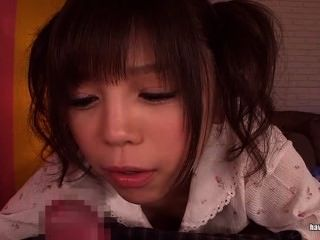 Asian Cutie In Pigtails Gives A Handjob