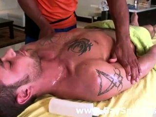 Muscular Black Gay Masseur Warms Up His Client