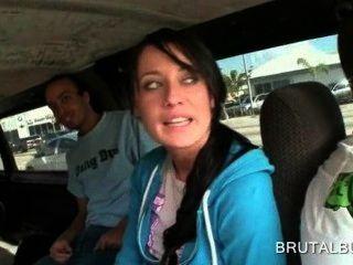 Superb Brunette Girl Talked Into Having Sex In The Bus