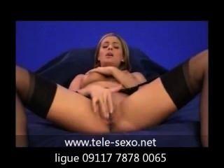 Girl, In Stockings, Masturbating On Sofa tele-sexo.net 09117 7878 0065