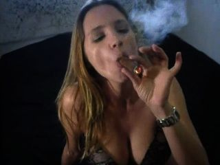 Sexy Big Cigar Smoking In Panties
