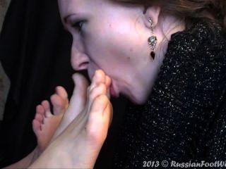 Girl Licking Two Pairs Of Feet