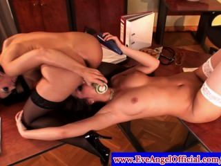 Peaches And Eve Angel In Stockings Using Toys
