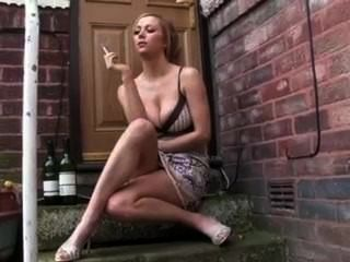 Hot Girlfriend Smoking Fag Outside On The Door Step
