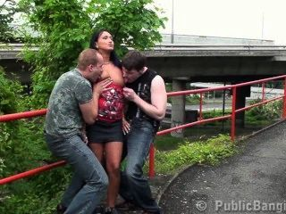 Cute Brunette In Public Sex Threesome Part 1