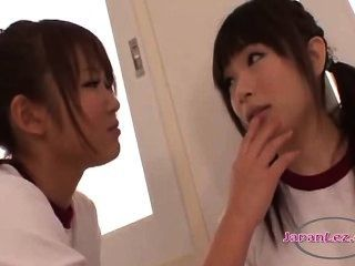 2 Schoolgirls In Training Dress Kissing Fingering Pussies On The Bed In The