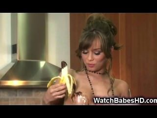 Teen Plays With Banana And Chocolate!