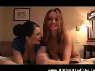 Two Hot Britsh Sluts Manhandling Penis