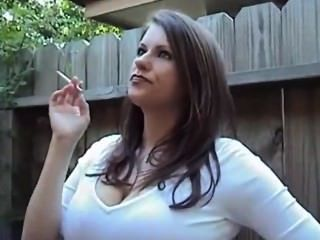 Smoking with big tits