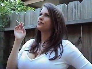 Big tit women smoking