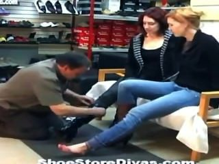 Feet Fetish Lick In Shoe Store
