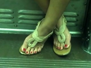 Candid Asian Sexy Feet On Train