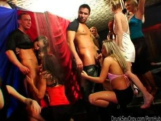 Dirty Party Chicks Suck Cocks In Club Orgy